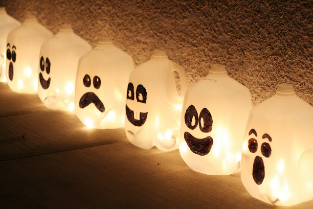 jugs, ghost, halloween decorations